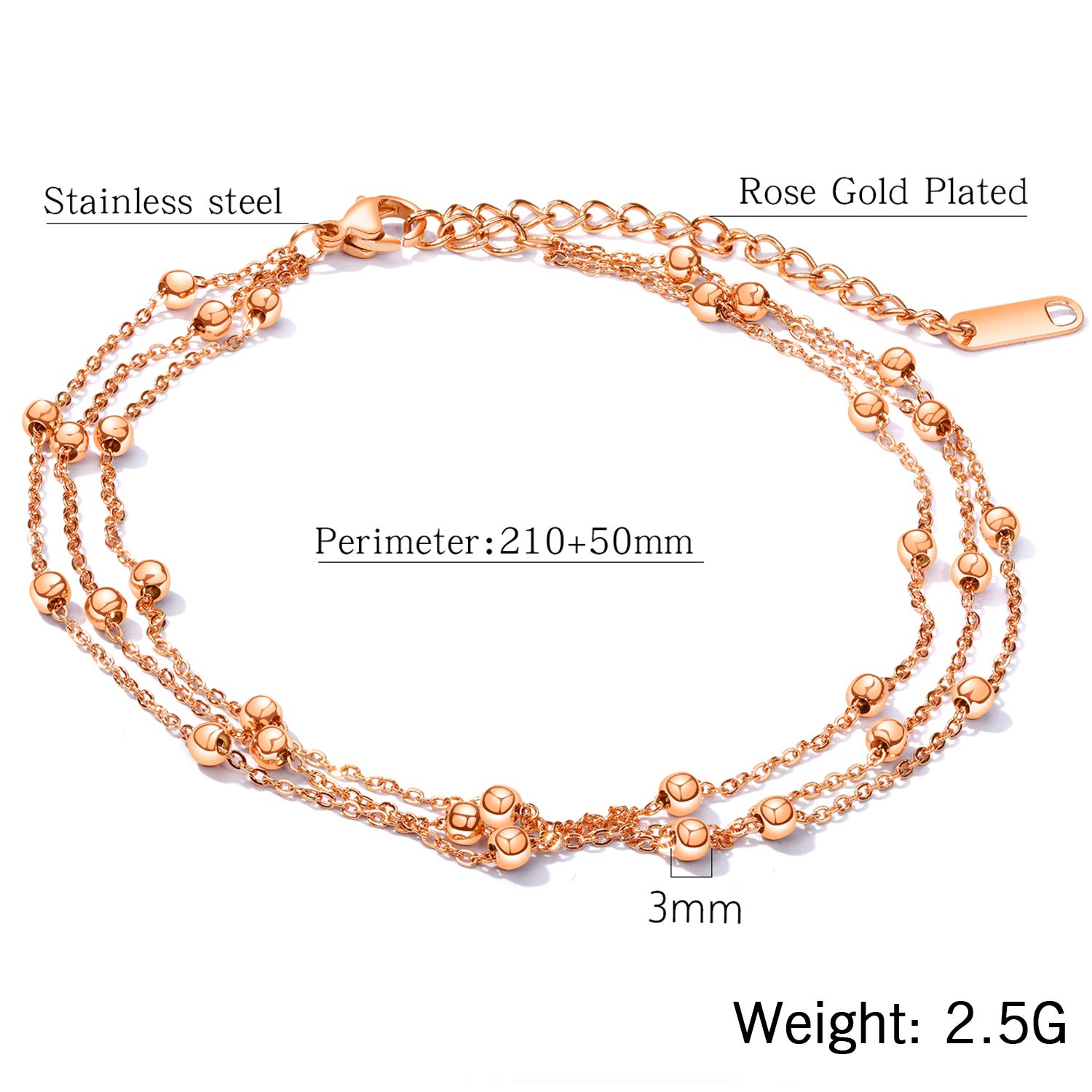 Cupimatch Women Beads Three Layer Chain Wrap Bracelets Adjustable Stainless Steel Multi Strand Anklet Wrist Link Bangle Jewelry