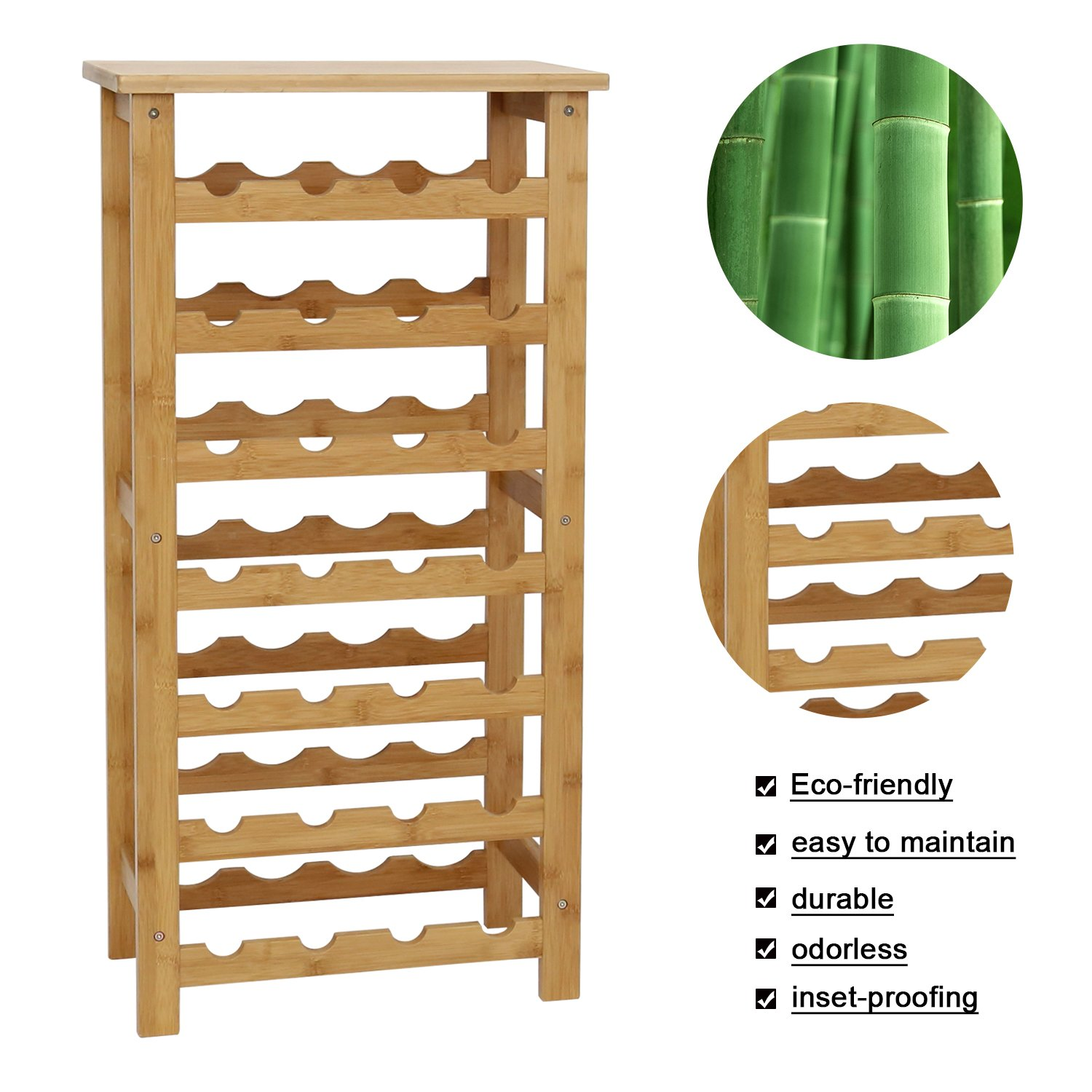 Kinbor 12-Bottle 2-Tiers Natural Bamboo Wine Display and Storage Rack GuangBo