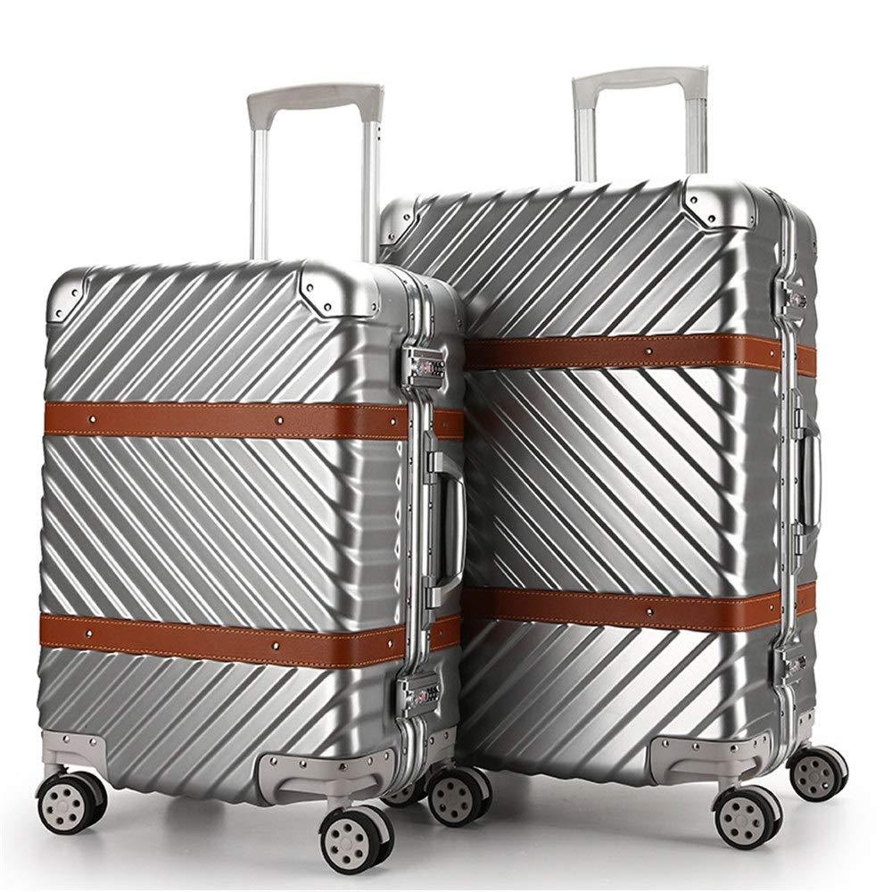 スーツケース ダブルTSAロックデザイン微調整トラベルロッド入れ子荷物スーツケースライトポータブルコラムサイレントローテーター多方向航空機 圧縮服スーツケース (色 : 銀, サイズ : 20in+24in) B07SW35FY8 銀 20in+24in