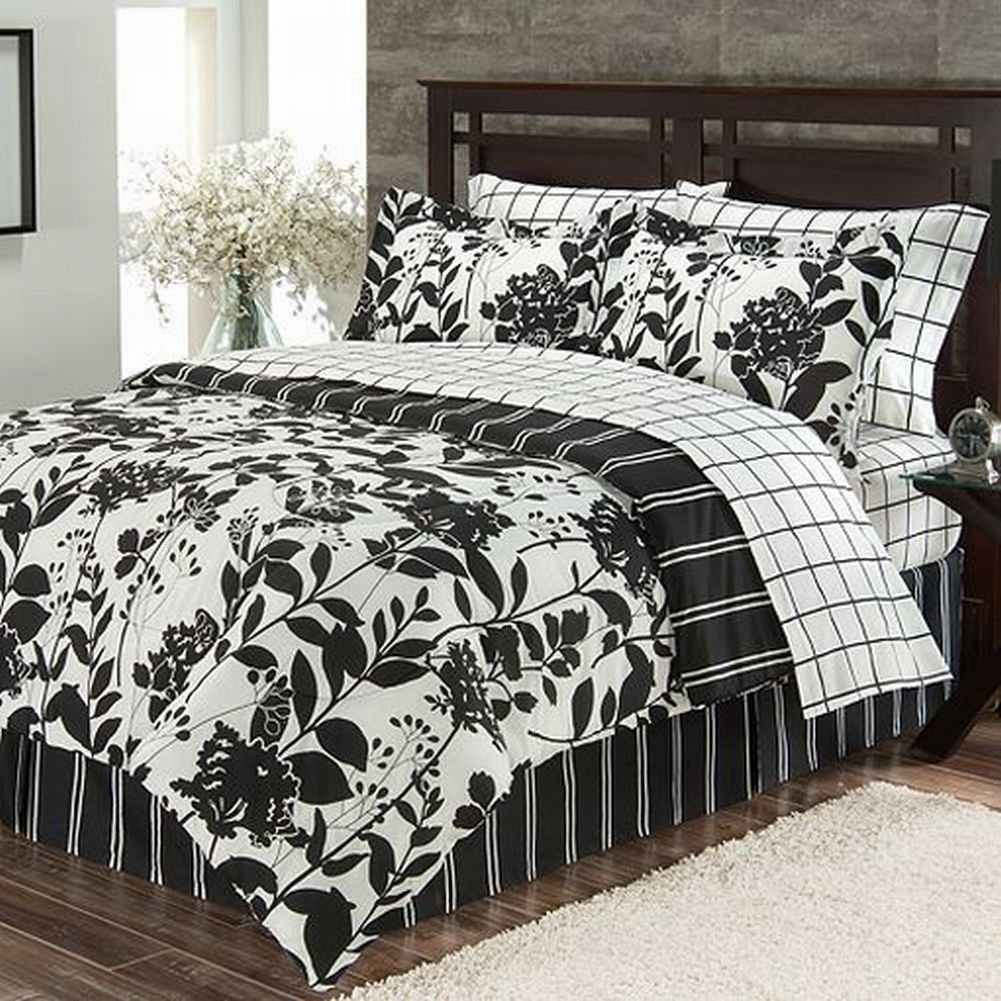 Black and white floral bed sheets - Amazon Com The Big One Black White Meadow Twin 6 Piece Bed In Bag Set Comforter Sheets Home Kitchen
