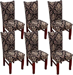SUBCLUSTER 6 Pcs/Set Soft Stretchable Dining Chair Covers with Printed Floral Patterns,Spandex Banquet Chair Seat Protector Slipcovers for Holiday Home Party, Hotel, Wedding Ceremony (Style 6)
