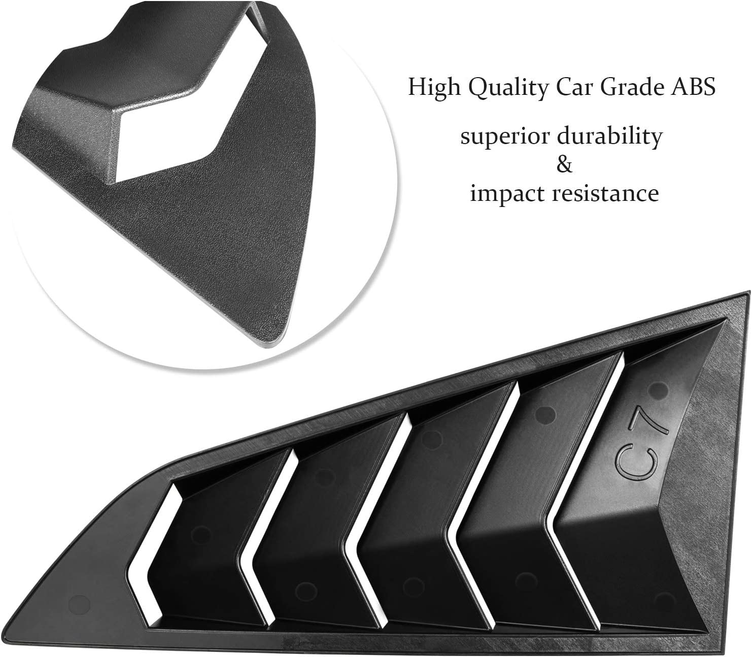 Matte Black Side Window Louver Cover Sun Shade Vent for 2014-2019 C7 Corvette in GT Lambo Style Stingray//Grand Sport // Z06 // Z51 // ZR1