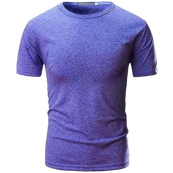 Longra ☆ Camiseta Hombre, La Camisa de Manga Corta Delgada Sólida Ocasional de los Hombres