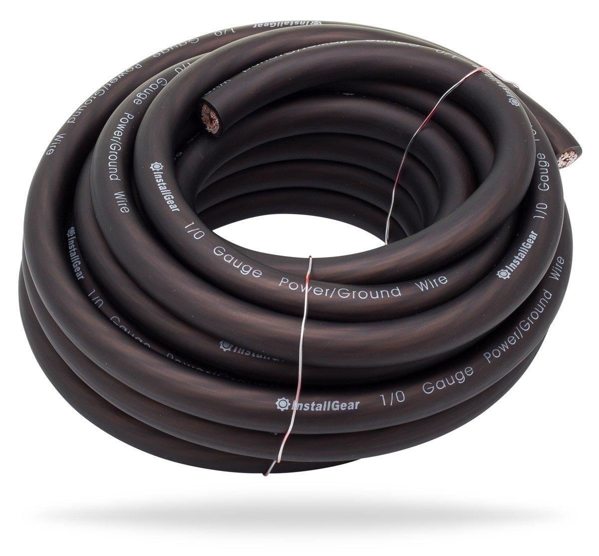 InstallGear 1/0 Gauge Black 25ft Power/Ground Wire - OFC (99.9% Oxygen-free Copper) by InstallGear