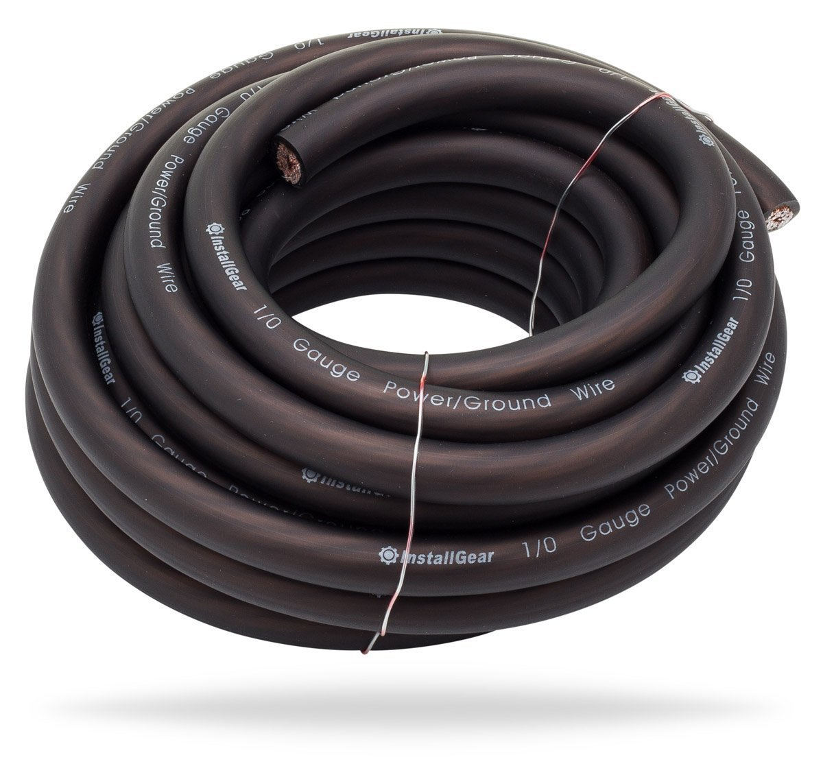 InstallGear 1/0 Gauge Black 25ft Power/Ground Wire - OFC (99.9% Oxygen-free Copper)