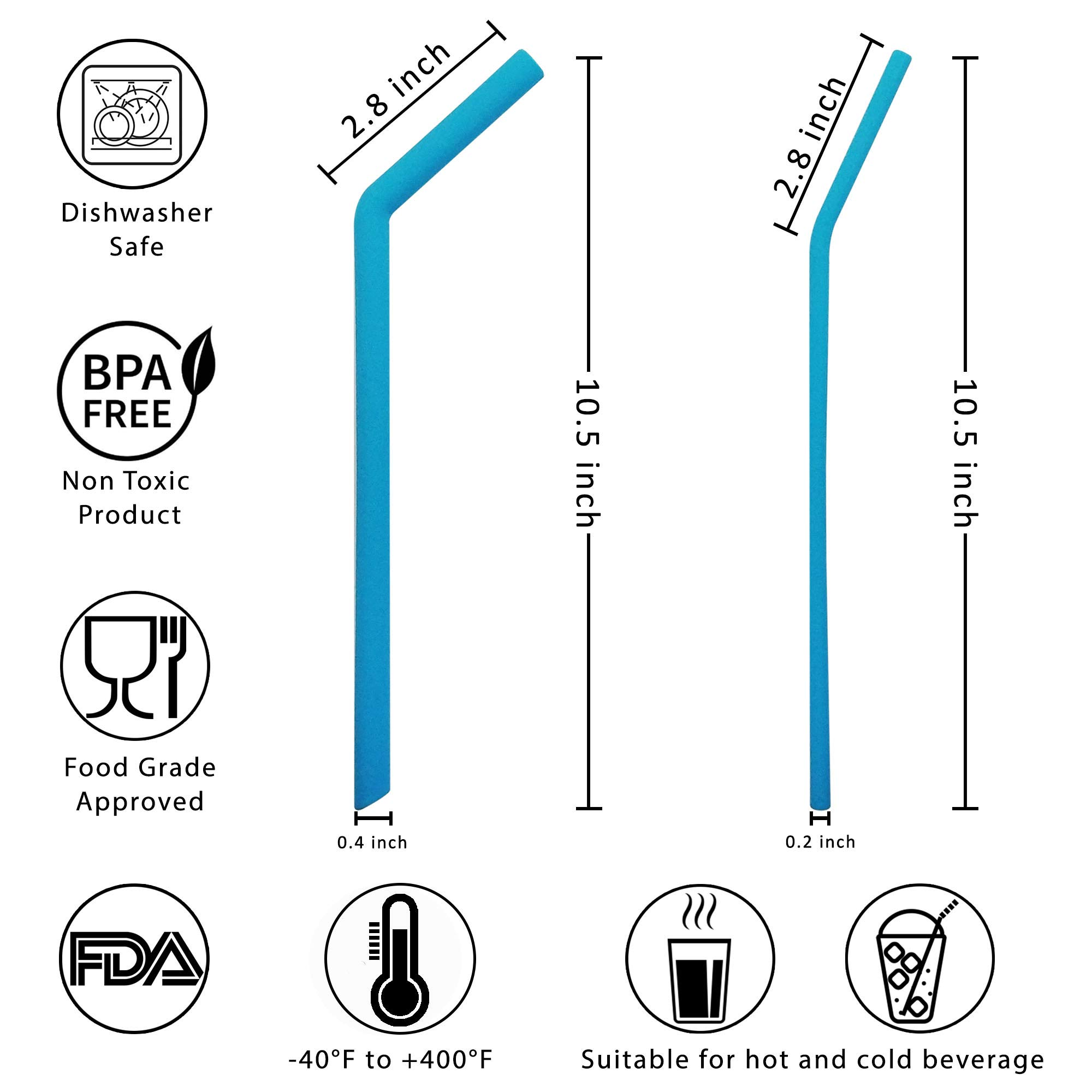 Evalasting Reusable Silicone Straws for Hot or Cold Beverages- FDA Approved Food Grade Silicone, BPA Free - Contains: 4 Thin + 4 Large Long Straw Fits 30 oz Tumbler + Cleaning Brush + Travel Pouch by Evalasting (Image #3)