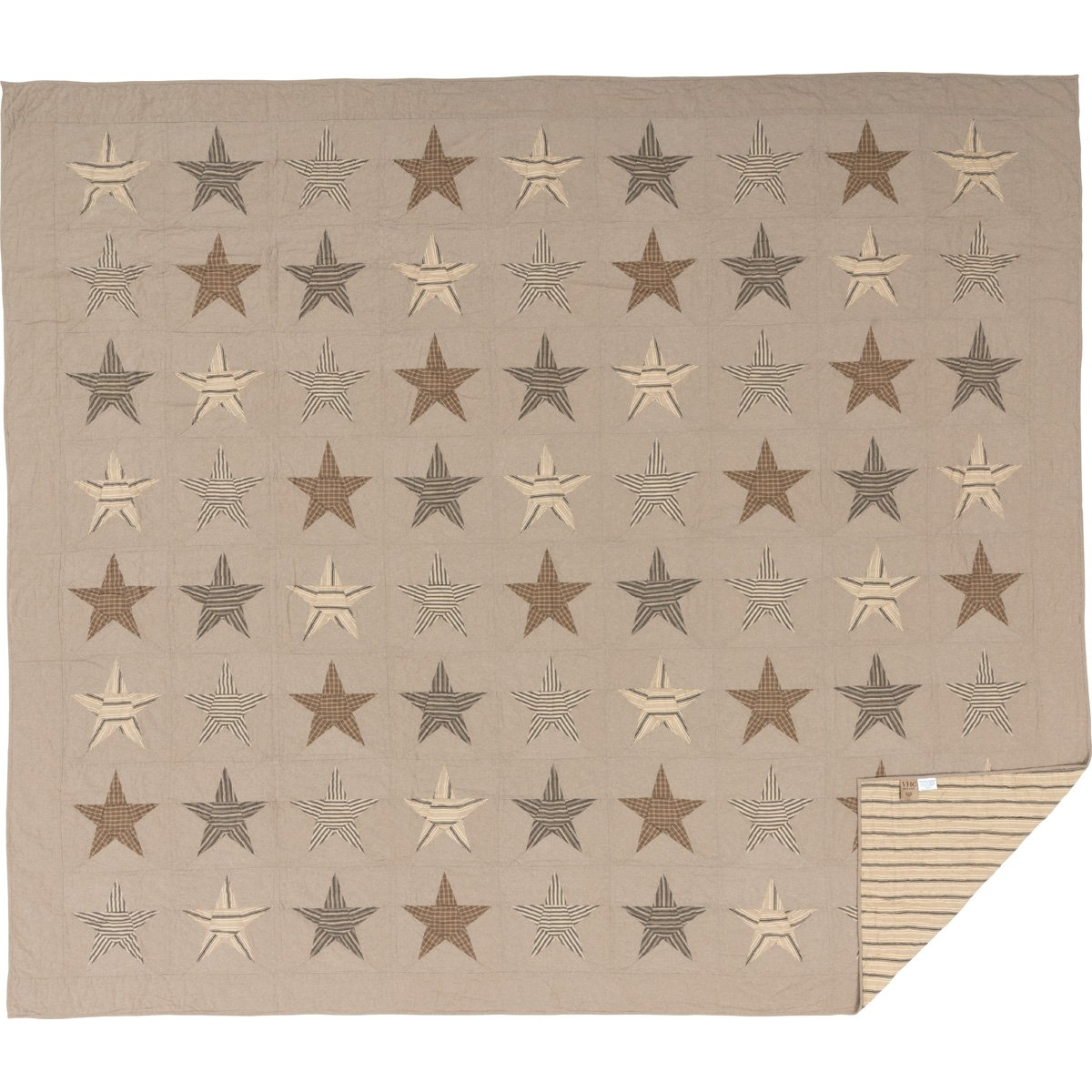 Tan 46276 VHC Brands Farmhouse Bedding Sawyer Mill Star Charcoal Quilt King