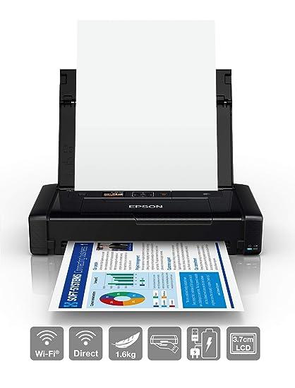 Epson Workforce WF-110W - Impresora de inyección de Tinta portátil (DIN A4, impresión móvil, WiFi, WiFi Direct, USB, batería integrada), Color Negro