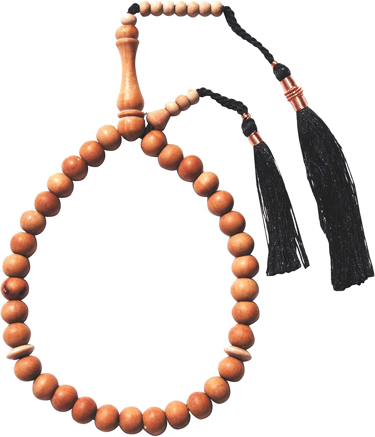 Exotic Beads Small 8mm 33-Bead Sandalwood Tasbih with Black Copper-Decorated Tassels