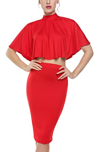 Zeagoo Women Sexy Draped Crop Tops Bodycon Dress 2 Pieces Outfit Evening Party Dress