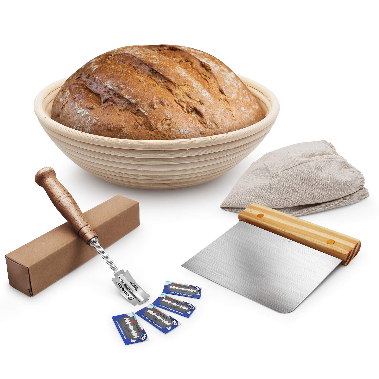 Banneton Proofing Basket Set 10 Inch, Sourdough Proofing Basket Round + Cloth Liner + Stainless Steel Dough Scraper + Premium Hand Crafted Bread Lame for Professional & Home Bakers