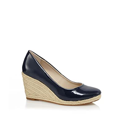 Principles By Ben De Lisi Women's Navy High High Patent Straw Heel Shoes Court Shoes Heel Shoes