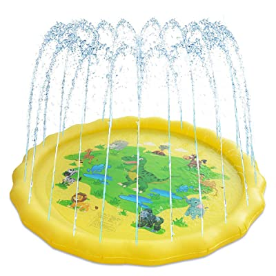 LEEHUR Sprinkler for Kids Splash Play Mat 70x59inch Outside Outdoor Summer Water Toys for 1-12 Years Old Wading Learning Pad Swimming Party Favors Gift for Children Toddlers Boys Girls Oval World Map: Toys & Games