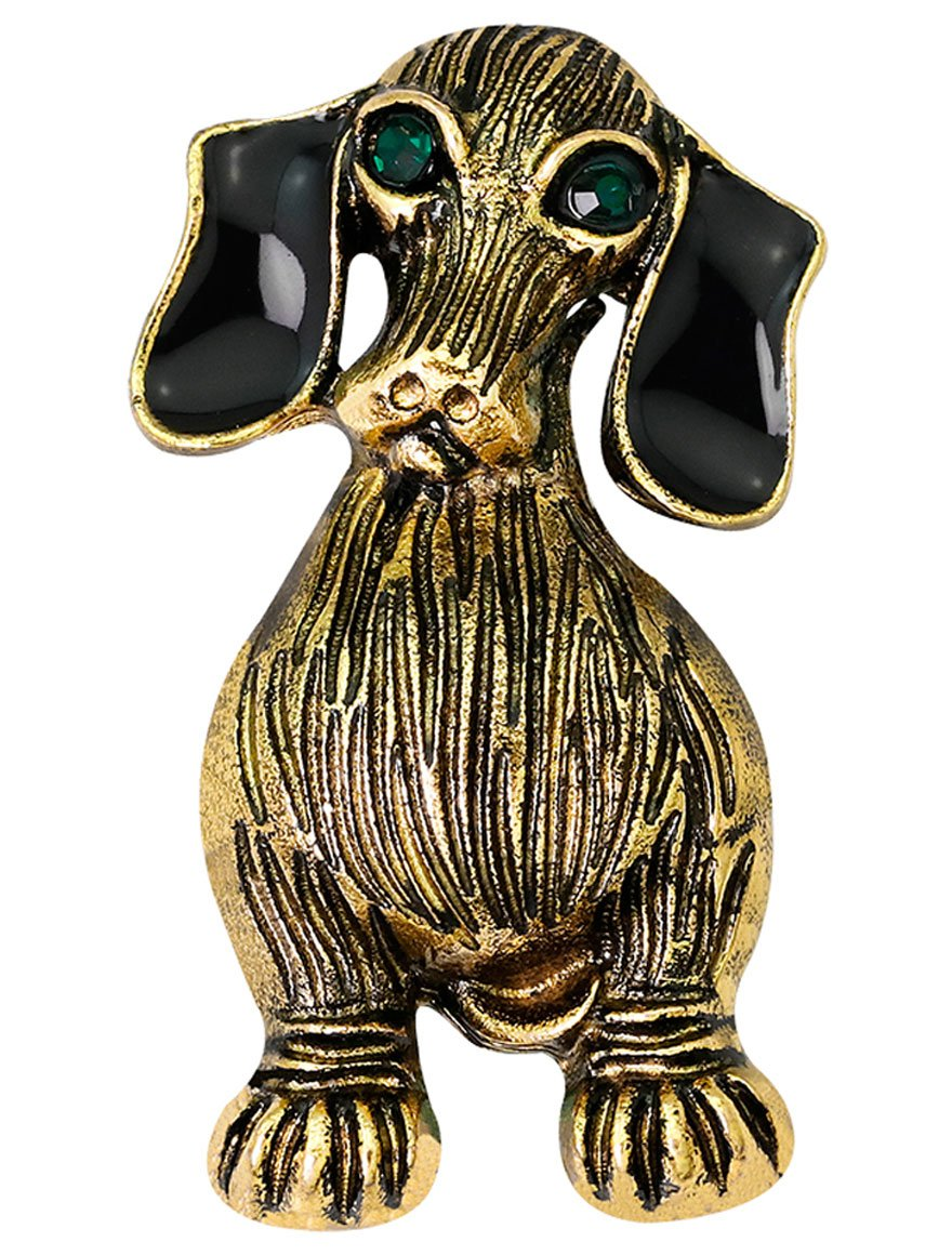 FENGJI Vintage Brooches for Women Antique Gold Tone Rhinestone 3D Dog Clothing Decoration Jewellery Brooch Pin FJDXZ-k49-y1