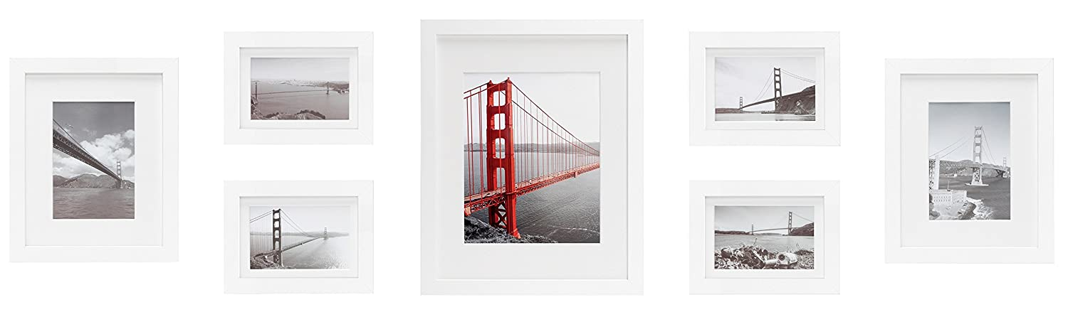 Frametory, Set of 7 Gallery Wall Frames White Photo Frame with Ivory Color Mat & Real Glass