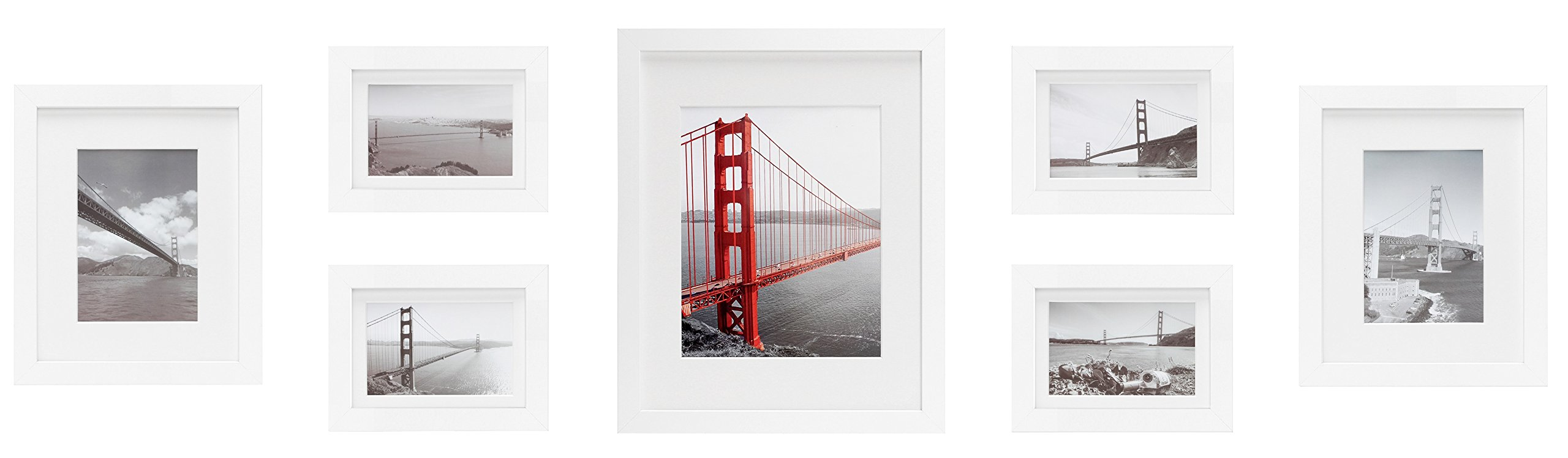 Frametory, Set of 7 Gallery Wall Frames White Photo Frame with Ivory Color Mat & Real Glass by Frametory