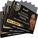 Natural Bamboo Charcoal Blotting Paper - 300 Super Large & Absorbent Sheets (120x75mm) - Make Up Friendly - Easy Take…