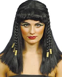 CraftsOfEgypt Egyptian Queen Cleopatra Costume Wig Headpiece - Bachelorette  Party Wigs - Black Wig with Bangs 23ee1e97870b