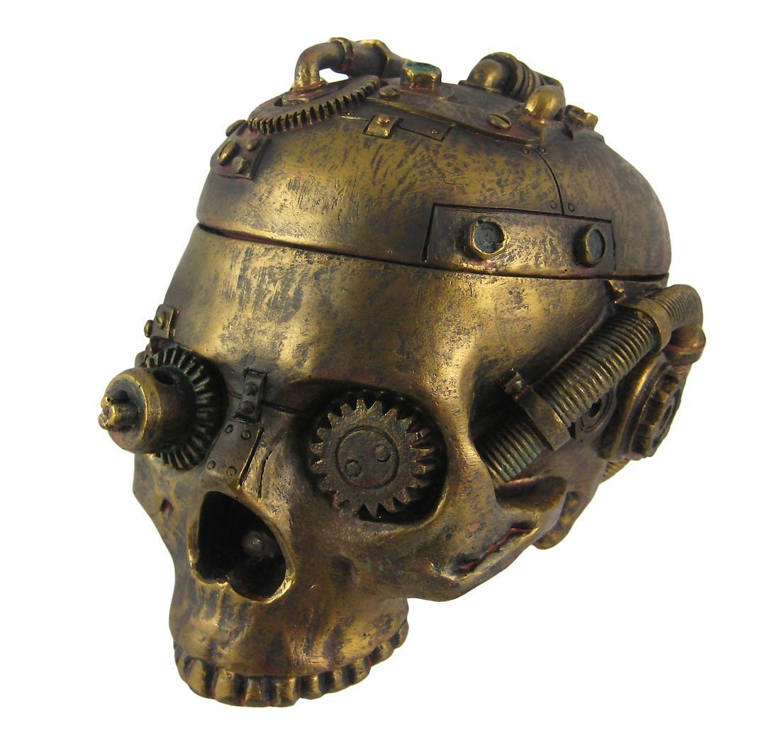Steampunk Skull Ashtray Trinket Box with Lid Statue by Pacific