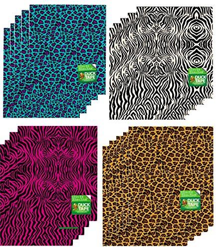 Duck Brand Duct Tape Sheets Animal Prints Bundle 20-Pack Zebra Leopard 8.25