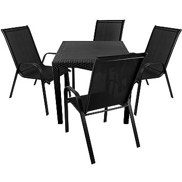 Amazon De Wohaga Elegantes 5 Teiliges Balkonmobel Set Sitzgruppe