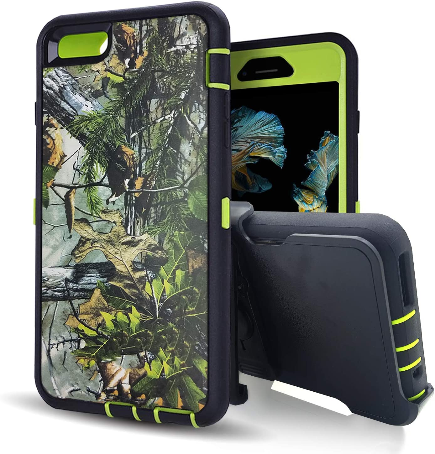 iPhone 6s Phone Case with Screen Protector,iPhone 6 Case with Belt Clip,Vodico Heavy Duty Defender Camo Silicone Protective Cover+Hard Bumper Shockproof Stand Holster Cases for Men/Women (F Green)