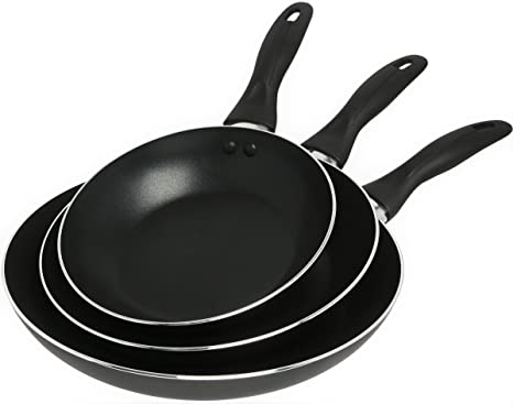 9abadd0f0bb2 Image Unavailable. Image not available for. Color: Aluminum Nonstick Frying  Pan Set - 3 Piece ...