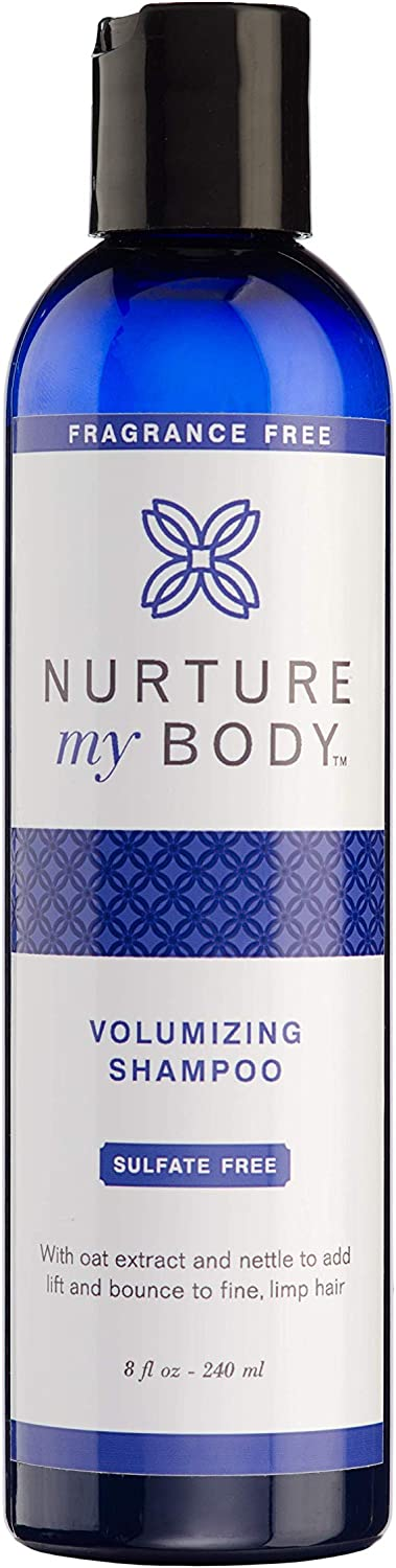 Volumizing Shampoo by Nurture My Body | Fragrance Free, All-Natural, Handcrafted with Certified Organic Ingredients | 8oz