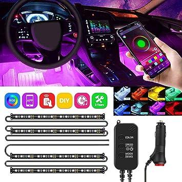 DC 12V LETOUR 4pcs 72 LEDs Multi-Color LED Car Interior Underdash Lighting Kit Under Dash Lighting with Sound and Wireless Remote Control Car LED Strip Light Car Charger Included