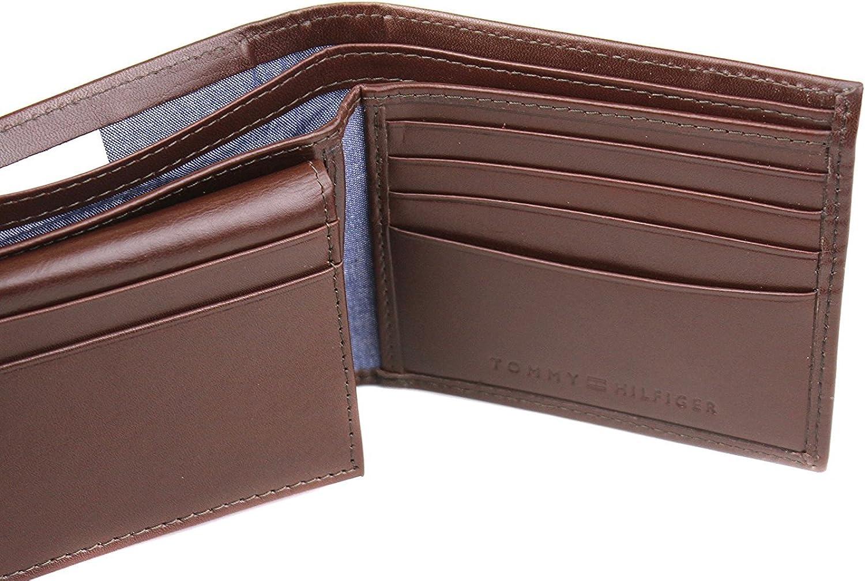 $58 MSRP Men/'s TOMMY HILFIGER Brown LEATHER PASSCASE VALET BiFold Wallet