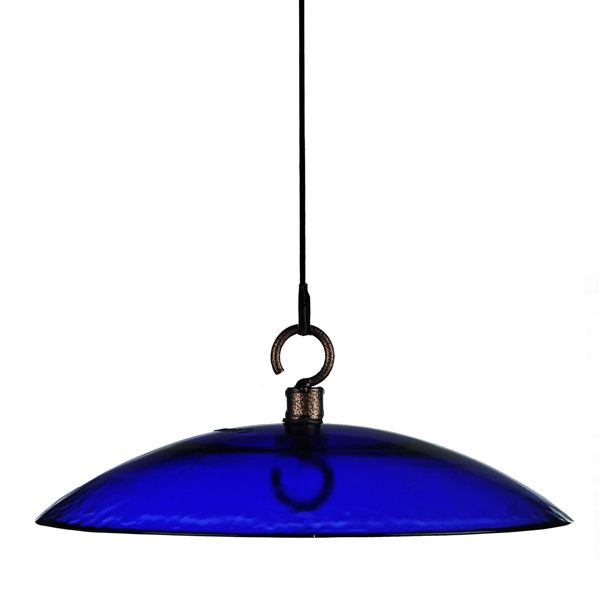 Mosaic Birds Cobalt Blue Petite Glass Baffle Dome, M383-200-15, 11 inches Wide, Co