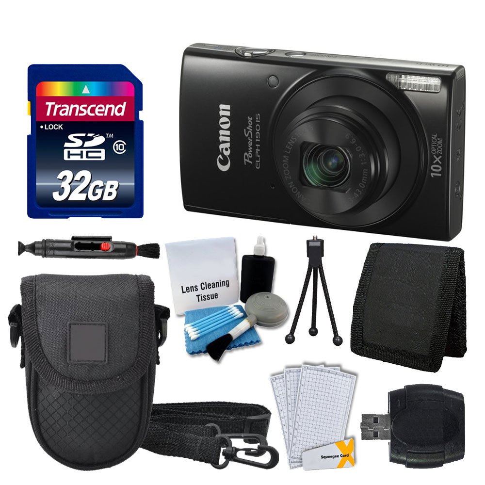 Canon PowerShot ELPH 190 is Digital Camera (Black) + Transcend 32GB Memory Card + Camera Case + USB Card Reader + Screen Protectors + Memory Card Wallet + Cleaning Pen + Great Value Accessory Bundle by Photo4Less