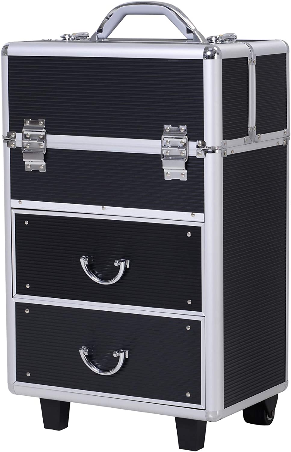 Soozier 4 Tier Lockable Cosmetic Makeup Train Case with Extendable Trays - Black