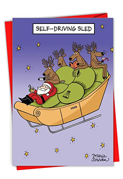 Humorous Christmas Cards.Amazon Com Box Set Of 12 Self Driving Sled Humorous