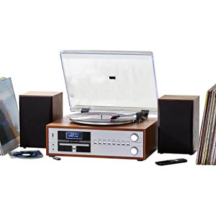 Zennox Retro Deluxe Hi-Fi Music Centre System DAB AM/FM Radio CD USB 3  Speed Vinyl Turntable Bluetooth Record Player Deck with USB for MP3 (Hi-Fi)