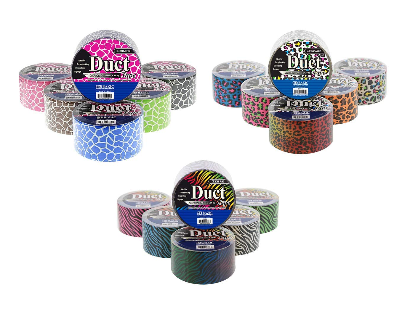 18 Roll Variety Pack Zebra, Leopard, and Giraffe Pattern Assorted Colored All Purpose Duct Tape