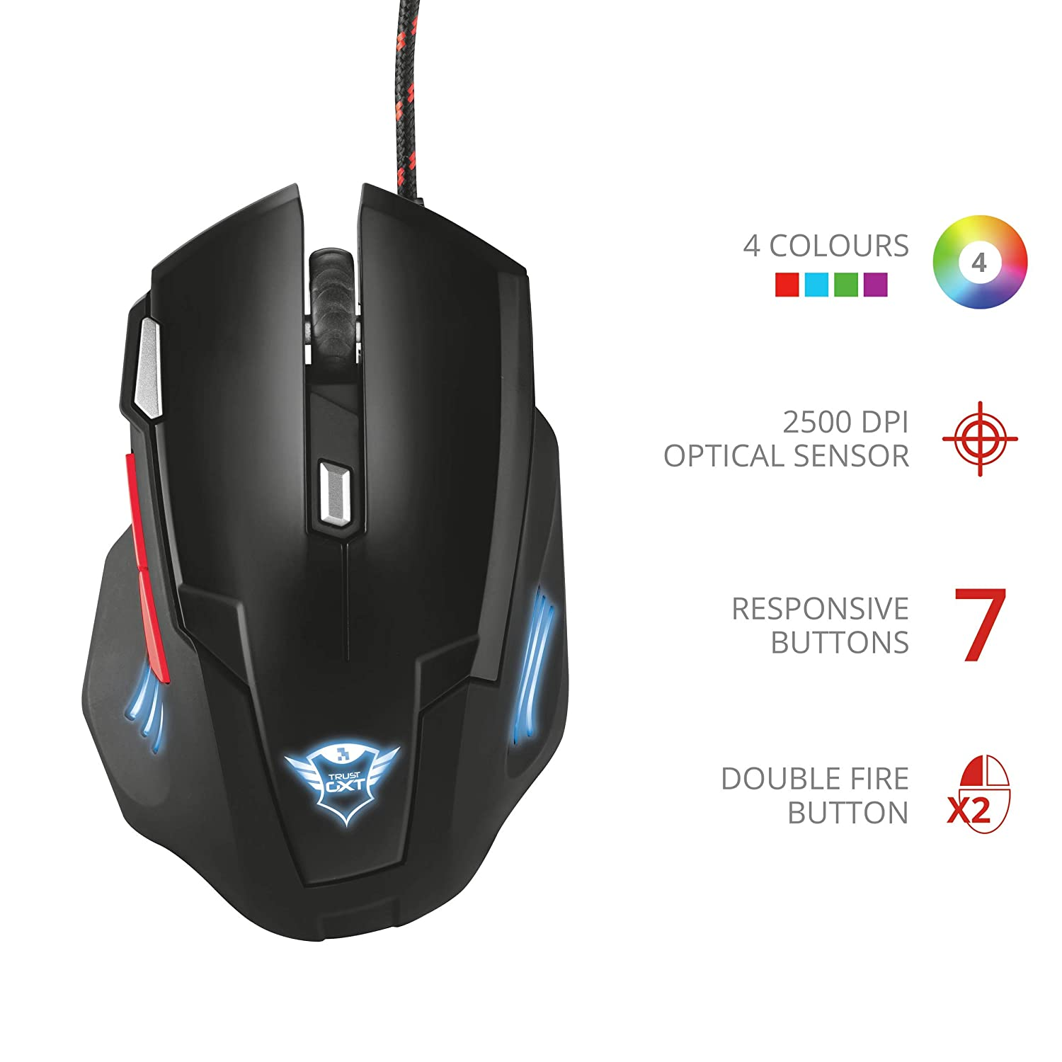 6 Responsive Buttons-Black Trust GXT 105 Izza Illuminated Gaming Mouse 800-2400 DPI