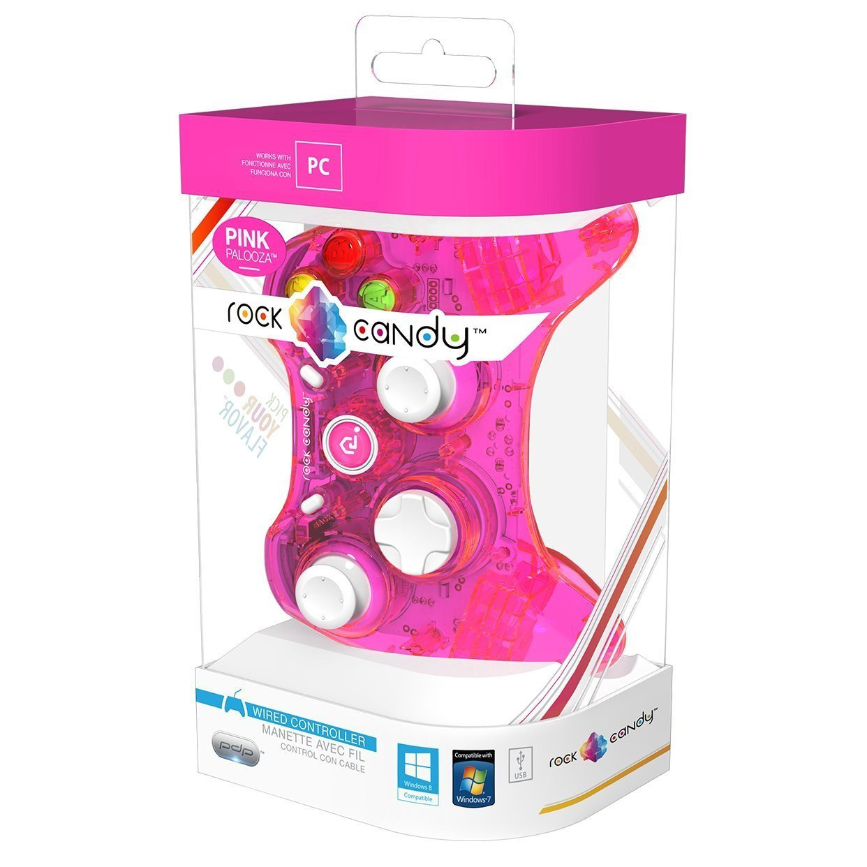 PDP Rock Candy Wired Controller for PC, Pink Palooza (904-004-NA-PK) Performance Designed Products