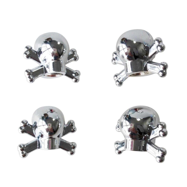 GQMART 4Pcs Universal Car Truck Bike Skull Tire Air Valve Stem Caps Wheel Rims