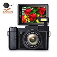 Video Camera Digital Camera Full HD 1080p Point and Shoot Camera Flip Screen vlogging Camera Flash light Camcorder with Lens Cap