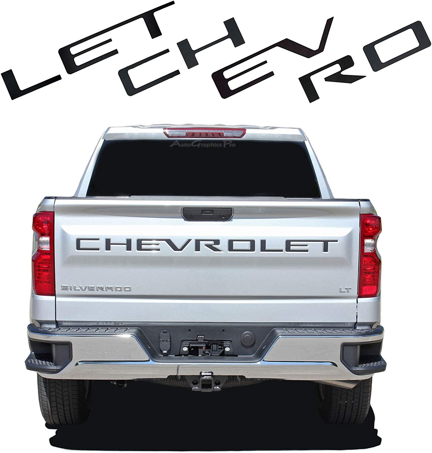 3M Adhesive /& 3D Raised Tailgate Letters AUTO PRO ACCESSORIES Tailgate Insert Letters for 2019 Chevrolet Silverado Grey With Red Outline