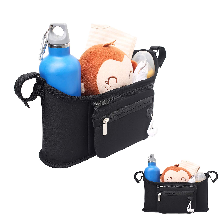 MODARANI Blue Pram Caddy Diaper Toys Oragnizer Baby Jogger Bag with Bottle Holders Mom Bag Bedside Organizer