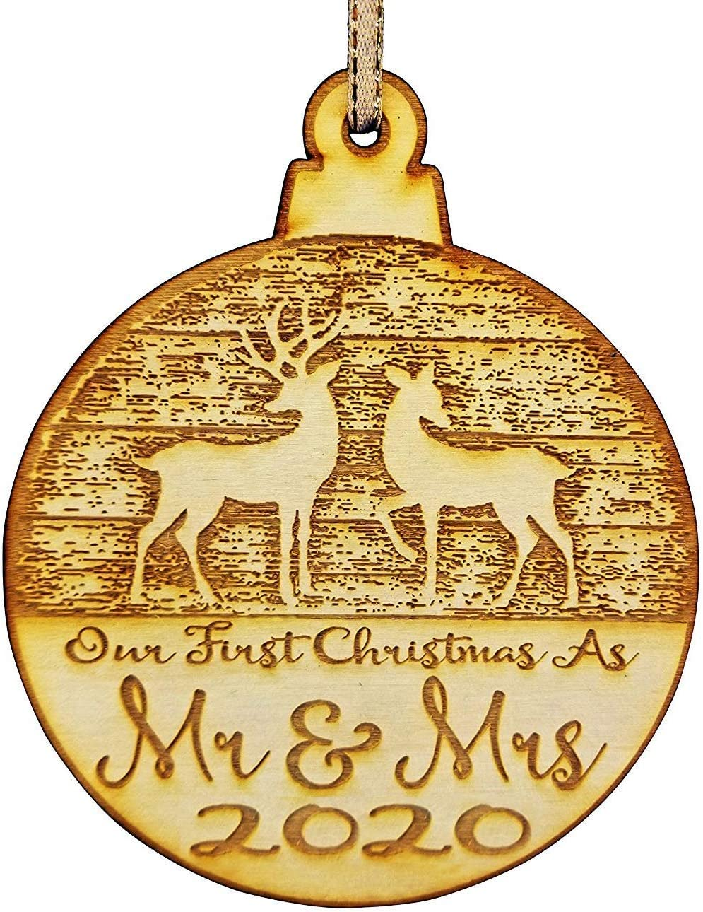 Wedding Collectibles Our First Christmas Ornament (2020) Mr. and Mrs. Couples Tree Hanger | Vintage Birchwood Craftsmanship | Classic Collectible Keepsakes & Heirlooms