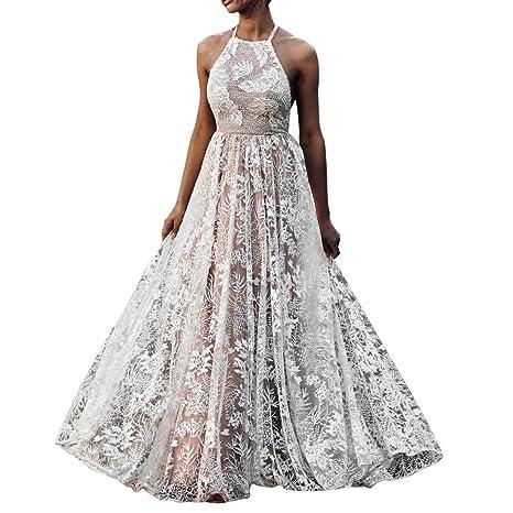 Vestiti Donna Eleganti Ragazza Invernali di Moda in Pizzo Giuntura Chiffon  delle Abiti Cerimonia Rotondo Collo e1811ce573c