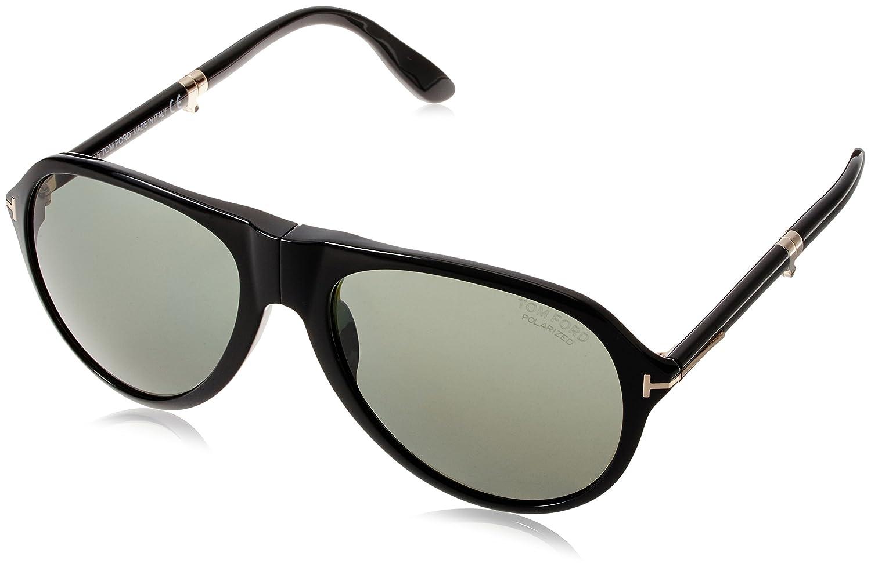bbda26f1bd Tom Ford Men s 0381 Folding Shiny Black Frame Green (Polarized) Lens  Plastic Sunglasses  Amazon.co.uk  Clothing