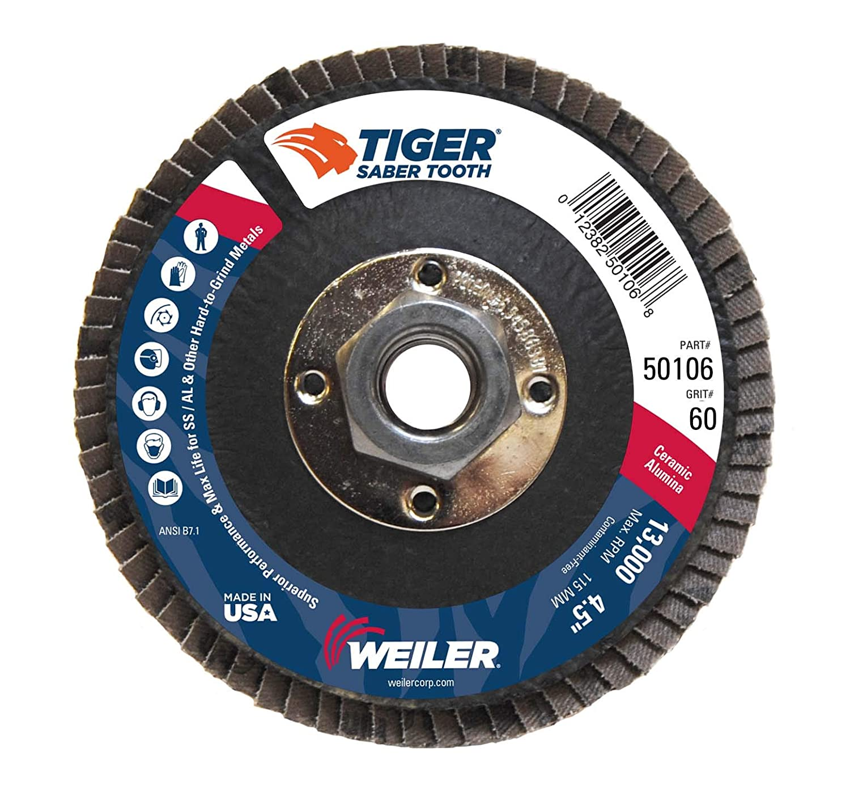 Ceramic Angled Abrasive Flap Disc Weiler 50105 Saber Tooth 5//8-11 Arbor Phenolic Backing 4-1//2 Diameter 40 Grit