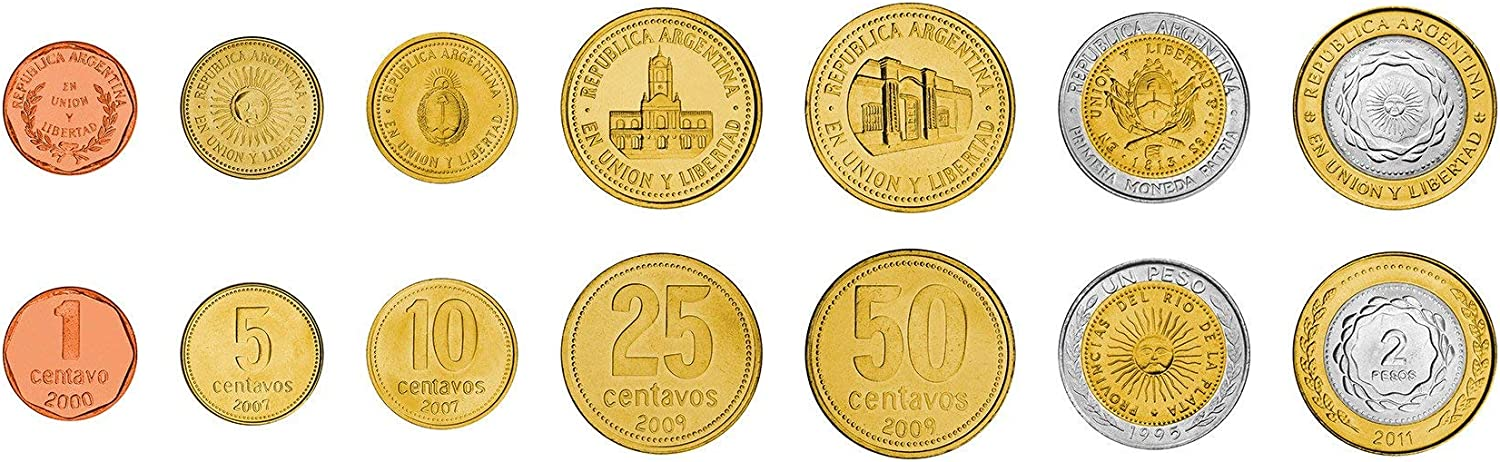 ARGENTINA COMPLETE FULL COIN SET 1 LOT of 2 NEW SERIES 5 Pesos 2017 UNC