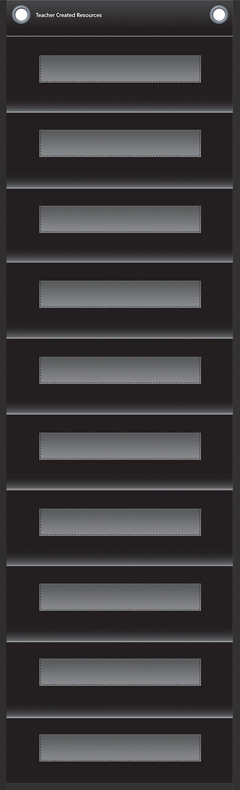 Black 10 Pocket File Storage Pocket Chart (14'' x 58'')