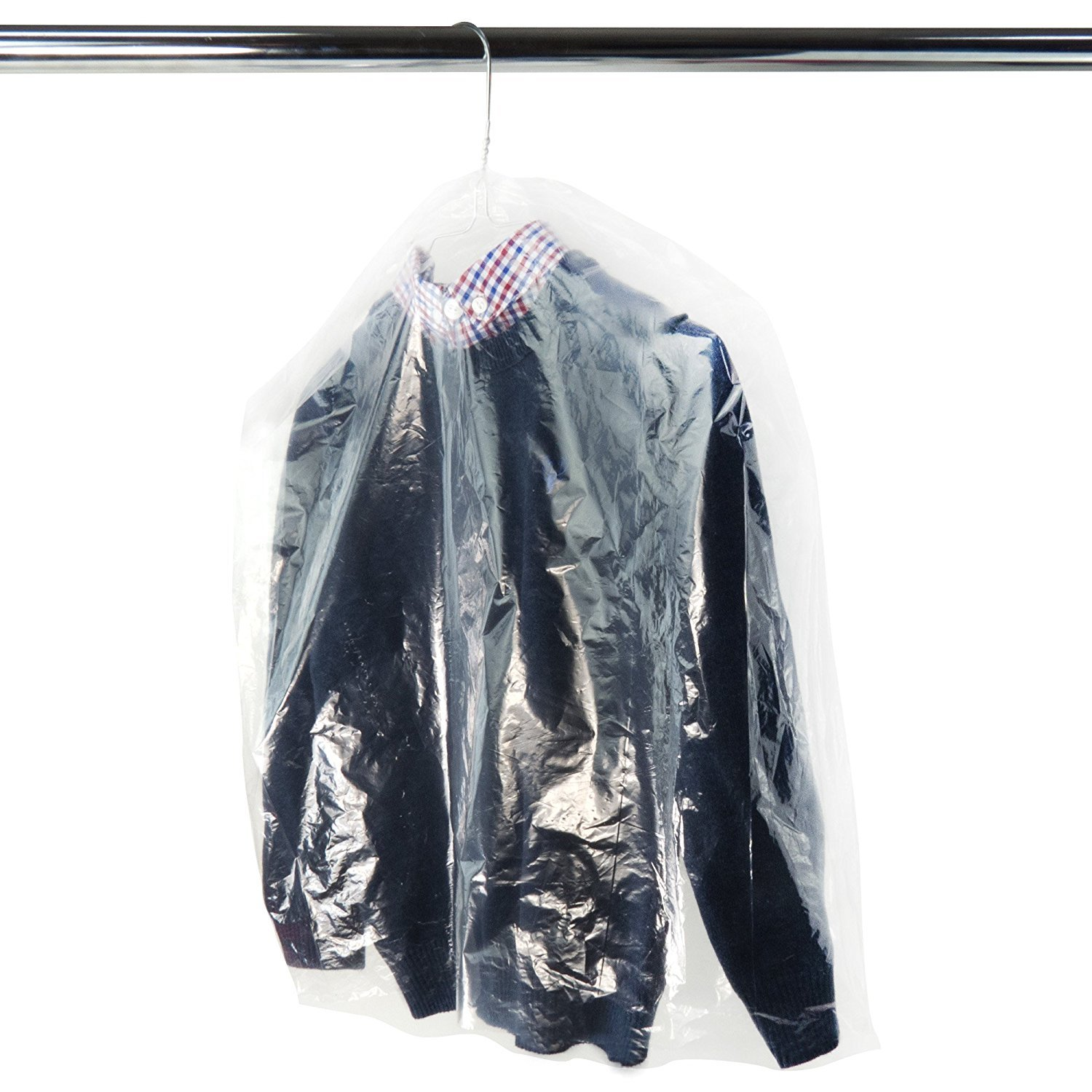 HANGERWORLD 30 Clear 20inch x 20inch Dry Cleaning Laundry Polythylene Clothes Garment Cover Protector Bags with 4inch Gusset