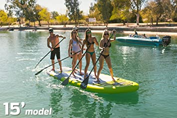 ISLE Megalodon | Inflatable Multi Person Standup Paddle Board Package | Includes 2 Pumps, 2 Paddles, Center Fin | Extra Stable Wide Stance